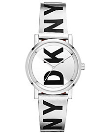 DKNY Women's Soho Black & Silver Leather-Tone Strap Watch 34mm, Created for Macy's