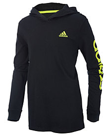 adidas Little Boys Cotton Logo-Graphic Hooded Shirt