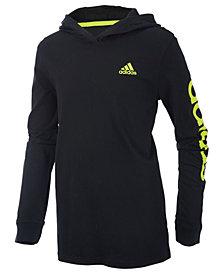 adidas Little Boys Cotton Logo-Graphic Hooded Shirt