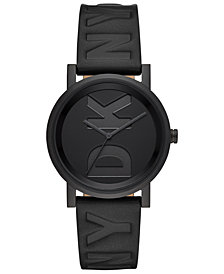 DKNY Women's Soho Black Leather Strap Watch 34mm