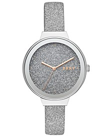 Women's Astoria Silver Glitter Leather Strap Watch 38mm, Created for Macy's