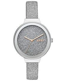 DKNY Women's Astoria Silver Glitter Leather Strap Watch 38mm, Created for Macy's
