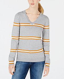 Hippie Rose Juniors' V-Neck Striped Sweater