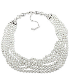 "Jenny Packham Silver-Tone Imitation Pearl & Crystal Multi-Strand Collar Necklace, 16"" + 2"" extender"