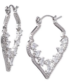 "Jenny Packham Crystal Decorative Medium 1-2/5""  Hoop Earrings"
