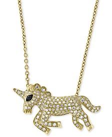 "EFFY® Diamond Unicorn 18"" Pendant Necklace (1/2 ct. t.w.) in 14k Gold"