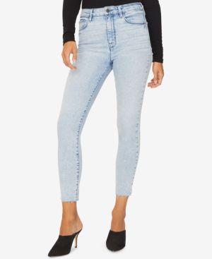 Social High Rise Raw Hem Ankle Skinny Jeans, Whiskey Blue