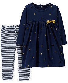 Carter's Baby Girls 2-Pc. Printed Tunic & Striped Leggings Set