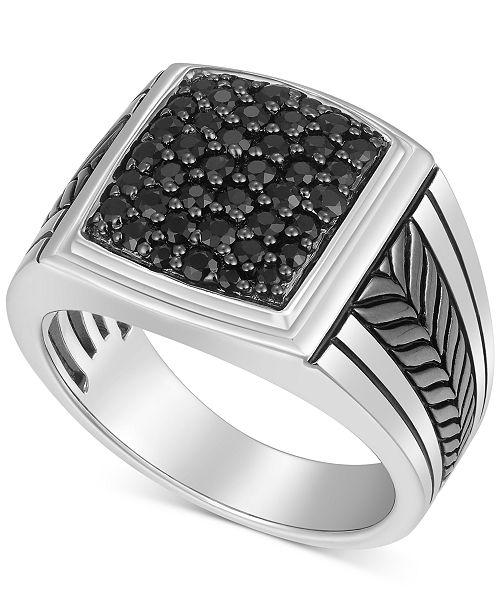 Macy's Men's Black Sapphire Ring (1-1/4 ct. t.w.) in Sterling Silver & Black Rhodium-Plate