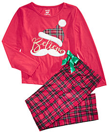 Max & Olivia Big Girls 2-Pc. Believe Pajamas Set, Created for Macy's