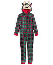 Max & Olivia Little & Big Boys Plaid Reindeer Hooded Onesie, Created for Macy's
