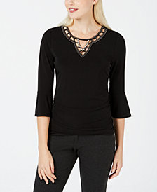 BCX Juniors' Embellished Bell-Sleeve Top