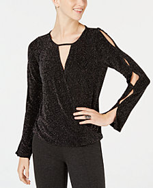 BCX Juniors' Split-Sleeve Metallic-Threaded Top