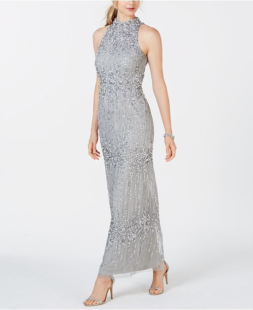 9cf6be77c554 Adrianna Papell Beaded Halter Column Gown & Reviews - Dresses ...