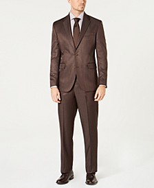 Men's Modern-Fit Stretch Brown Sharkskin Suit