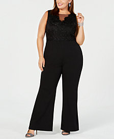 Adrianna Papell Plus Size Metallic Lace Jumpsuit