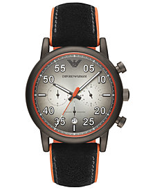 Emporio Armani Men's Chronograph Black Leather & Orange Rubber Strap Watch 43mm