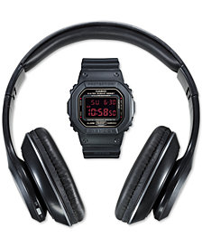 G-Shock Men's Digital Black Resin Strap Watch 42.8mm Gift Set - Created for Macy's