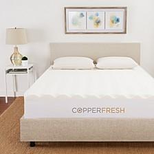 """CopperFresh Queen 4"""" Wave Foam Mattress Topper"""