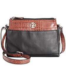 Giani Bernini Pebble Crocodile Double Zip Crossbody, Created for Macy's
