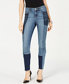 I.N.C. Patchwork Skinny Jeans, Created for Macy's
