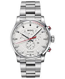Mido Men's Swiss Chronograph Multifort Stainless Steel Bracelet Watch 42mm