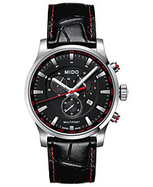 Mido Men's Swiss Chronograph Multifort Black Leather Strap Watch 42mm