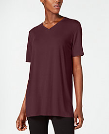 Eileen Fisher Stretch Jersey V-Neck Top, Regular & Petite