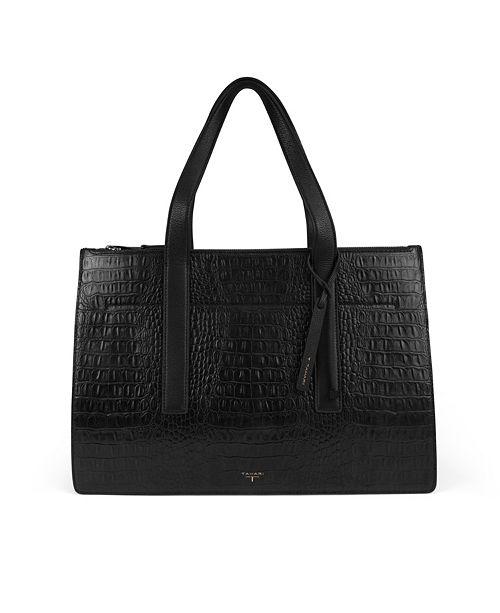T Tahari Color & Black Leather Croc Tote