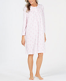 Miss Elaine Printed Pointelle Knit Nightgown