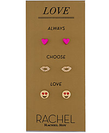 RACHEL Rachel Roy Mixed-Tone 3-Pc. Set Pavé Love Stud Earrings
