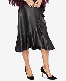 RACHEL Rachel Roy Ruffled Faux-Leather Skirt, Created for Macy's