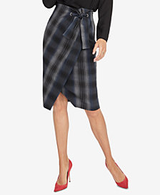 RACHEL Rachel Roy Plaid Wrap Skirt, Created for Macy's