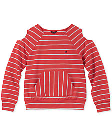 Tommy Hilfiger Big Girls Striped Cold Soulder Sweatshirt