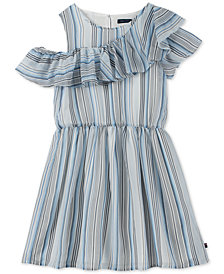 Tommy Hilfiger Big Girls Ruffle-Trim Striped Dress