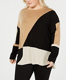 INC Plus Size Long-Sleeve High-Low Sweater, Created for Macy's