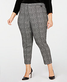 Calvin Klein Plus Size Tweed Ankle Pants