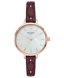 kate spade new york Women's Metro Purple Quilted Leather Strap 34mm