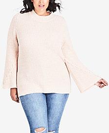 City Chic Plus Size Cross-Hatch Turtleneck Sweater