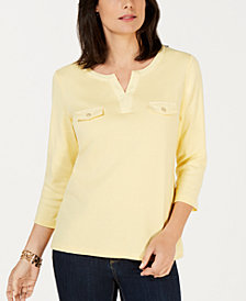 Karen Scott Cotton Split-Neck Knit Top, Created for Macy's