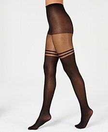 I.N.C. Striped Mock Thigh-High Tights