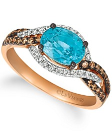 Blue Zircon (2 ct.t.w.), Nude Diamonds™ (1/3 ct.t.w.), and Chocolate Diamonds® (1/4 ct.t.w.) Ring set in 14k rose gold