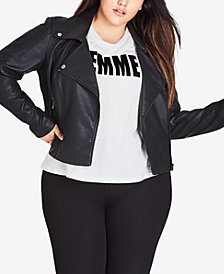 City Chic Plus Size Faux-Leather Moto Jacket