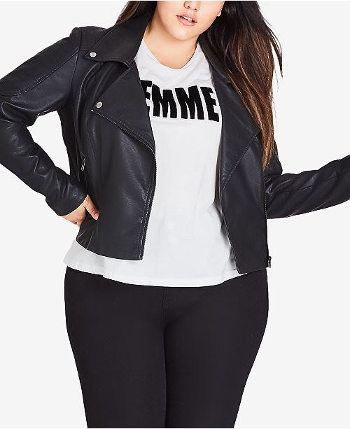 b3270fef1ce City Chic Plus Size Faux-Leather Moto Jacket   Reviews - Jackets ...