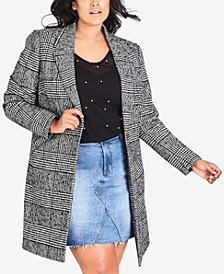 City Chic Trendy Plus Size Say It Isn't So Coat