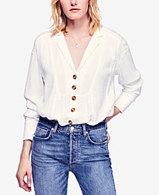 Free People All About The Feel Textured Cotton Shirt