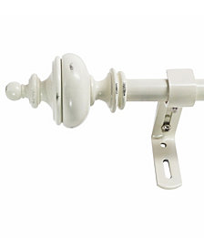Montevilla 5/8-Inch Urn Telescoping Curtain Rod Set, 86 to 128-Inch, Distressed White