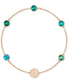 Swarovski Remix Collection Rose Gold-Tone Pavé Fireball & Crystal Link Bracelet