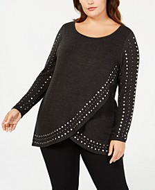 Plus Size Studded Tulip-Hem Sweater