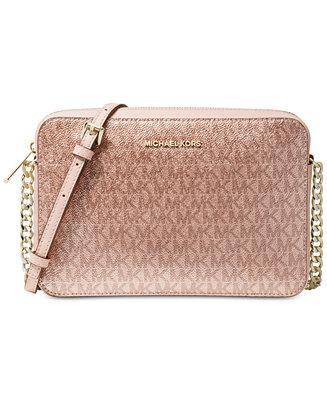 6926372c2f62 Michael Kors Metallic Signature East West Crossbody & Reviews - Handbags &  Accessories - Macy's